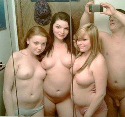 Lucky guy surrounded by naked girlfriends