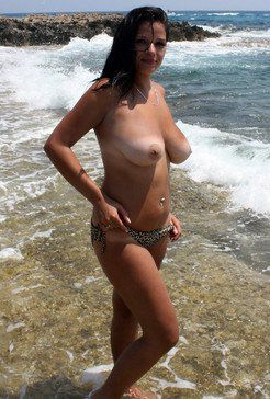 Busty curvy the beach shots