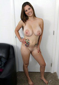 Short forty-year-old lady with huge saggy...