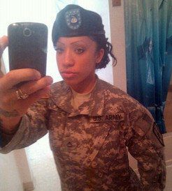 Cute Afro-American female soldiers in...