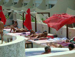 Public blowjob near the pool Cap D'agde...