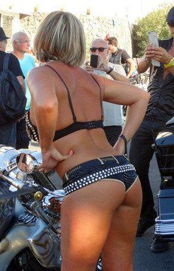 Naked bikers show sex and motorcycles.