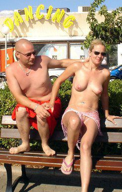 Cap D'agde chick flashing topless