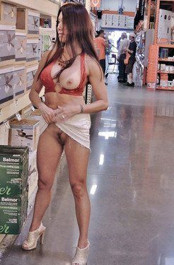 Completely naked in the home goods store