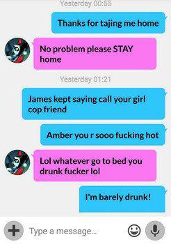 drunk guy texting his female cop friend