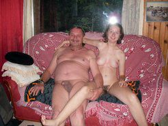 Nudist family mother, father, adult daughter