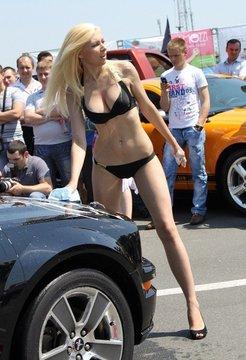 Long-legged Russian model candid photo...