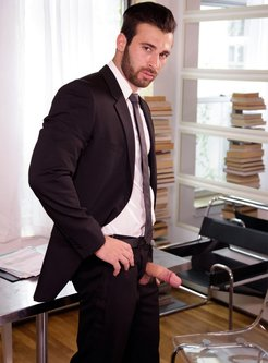 business suit and erected dick in the office