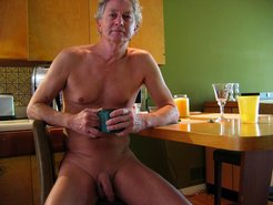 Amateur naked dad shows his cock