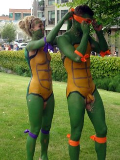 naked bike ride in ninja turtle costumes