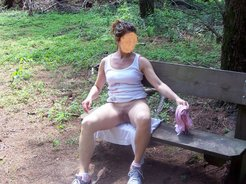Flashing pussy public on on a bench