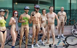 Art people nudists on bikes
