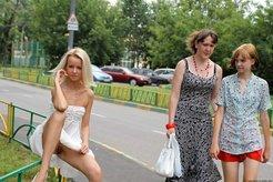 Skinny blonde posing nude at public