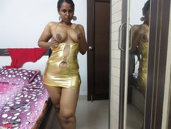 Desi MILF in short dress flashing pussy