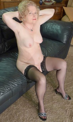 chubby wife posing naked in stockings and...